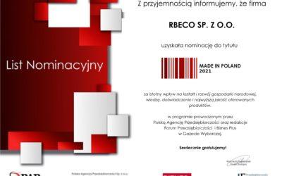Rbeco Sp. z o.o. w gronie nominowanych do nagrody Made in Poland 2021